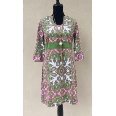 Erma's Closet Pink & Green Paisley Print U-Neck Dress