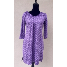 Erma's Closet Purple & White Circle Print Babydoll Dress