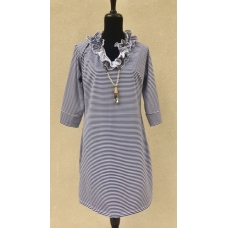 Erma's Closet Blue White Striped Ruffle Neck Dress