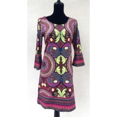 Aryeh Burgundy and Lime Paisley Print Dress