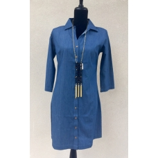 Erma's Closet Button Front Chambray Dress with Collar