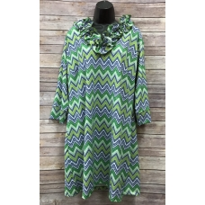 Erma's Closet Green and Navy Chevron Dress w/ Ruffle Collar