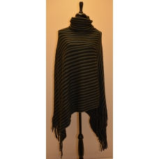 Simply Noelle Black and Grey Stripped Turtleneck Poncho