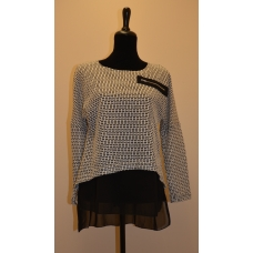 Papillon Large Houndstooth High Low Blouse