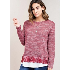 Kori Burgandy Top with Lace Detail