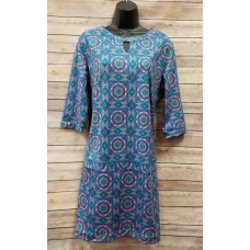 Erma's Closet Pink & Blue Print Key Hole Dress