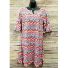 Erma's Closet Pink, Red and Blue Chevron Short Sleeve Dress