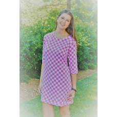 Erma's Closet Pink and White Checkerboard Scoop Neck Dress