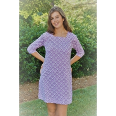 Erma's Closet Purple and White Damask Squareneck Dress