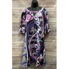 Erma's Closet Purple, Grey & Pink Pucci Dress w/keyhole and Bell sleeves