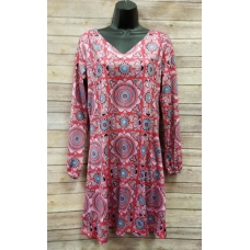Erma's Closet Red Print V Neck Long Sleeve Dress