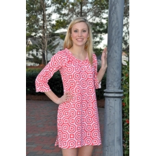 Erma's Closet Red and Pink Swirl Babydoll Dress