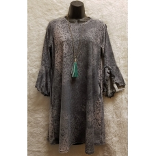 Shane Lee Grey Leopard Print 3/4 Length Bell Sleeve Dress