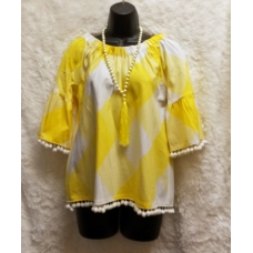 Sharon Young Yellow and White Checkerboard Baby doll Top with Pom Pom Trim