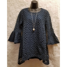 Simply Noelle Navy 3/4 Bell Sleeve Lace Top with Navy Underlay