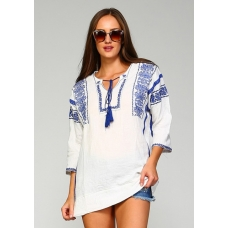 Velzara Blue and White Embroidered Top