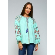 Velzara Mint Embroidered Top with Tassle