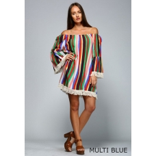 Velzara Multi Striped Tunic with Natural Fringe