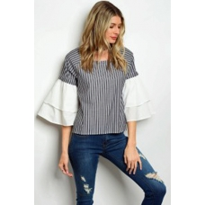 WFS Grey and White Pinstripe with White Bell Sleeve top