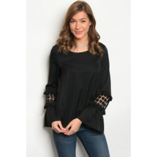 WFS Black Long Sleeve with Lace Detail Top