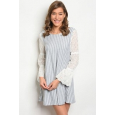 WFS Grey and White Stripe Dress with Eyelet Long Sleeves