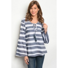 WFS Navy and White Stripe Top with Bell Sleeve and Tassle Detail ties