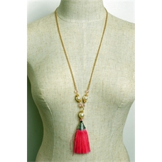 WFS Gold and Pink Long Necklace with Tassle