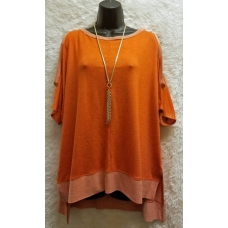 A.Gain Cold Shoulder Orange Hombre Top