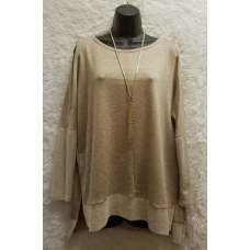 A.Gain 3/4 Sleeve Tan Hombre Top