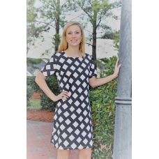 Erma's Closet Black and White Diamond Print Dress