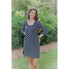 Erma's Closet Black and White Geo Print Dress