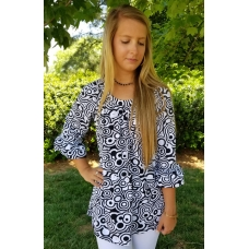 Erma's Closet Black and White Circle Print Tunic