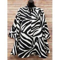 Erma's Closet Black and White Zebra Print Swing Jacket