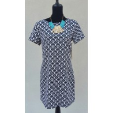 Black Tape Black and White Arch Print  Short Sleeve Dress