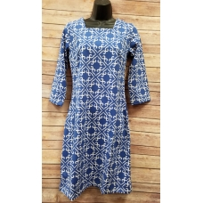 Erma's Closet Cornflower and White Print Squareneck Dress