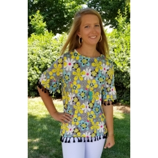 Erma's Closet Blue and Gray Floral Top with Tassel Trim