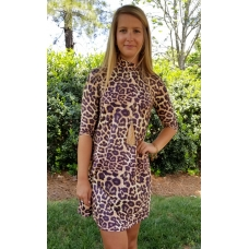 Erma's Closet Leopard Print Moc Neck Dress