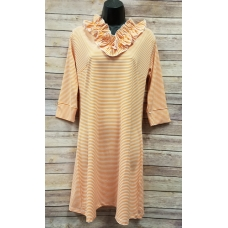 Erma's Closet Orange Stripe Ruffle V-neck Dress