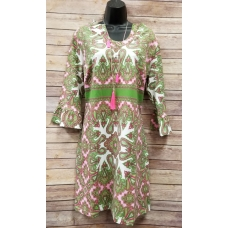 Erma's Closet Pink & Green Paisley U-neck Dress