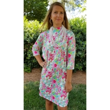 Erma's Closet Pink Floral Print Moc Neck Dress