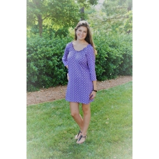 Erma's Closet Purple and White Circle Print Dress