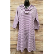 Erma's Closet Purple Stripe Ruffle V-neck Dress