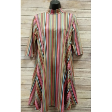 Erma's Closet Multi Colored Striped Moc Neck Dress